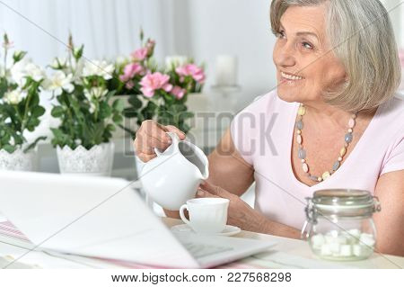 Senior Woman Working With Laptop At Home