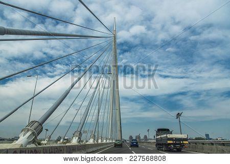 Highway Of Bridge Over Ada, Belgrade, Serbia