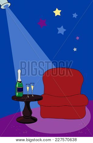 illustration of holiday background, chair and little table in festive studio for emcee