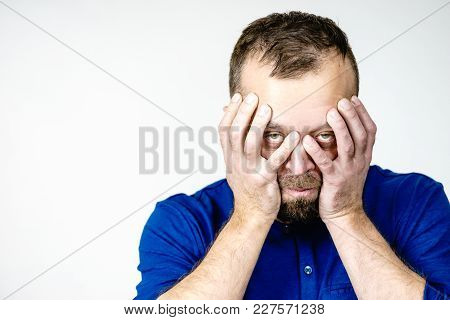 Adult Man Being Worried About Something. Guy Gesturing With Hands Seeing Unpleasand Bad Effects.