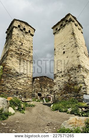 Watchtowers In Villages Being In Georgia In The Swaneti Area In  The Mountains Of The Caucasus, Unes