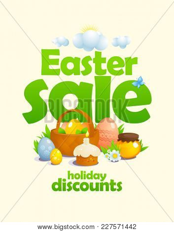 Easter sale design concept with basket and colored eggs, pastry, honey and flowers, rasterized version