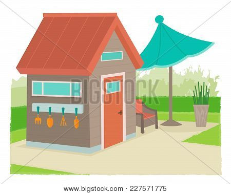 Modern Style Garden Shed With Gardening Tools And Neat Landscape. Eps10