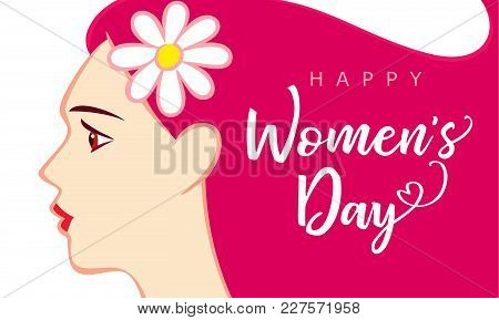 8 March, Happy Womens Day Beautiful Woman Pink Greeting Card. Vector Illustration For The Internatio