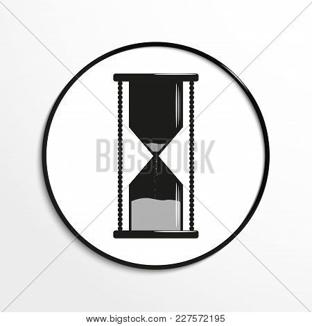 Hourglass. Conditional Symbol. Vector Icon. Black And White Image On A Light Background.