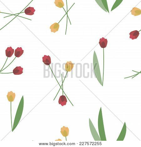 Red And Yellow Spring Fresh Bright Tulips With Green Leaves On A White Background Seamless Pattern