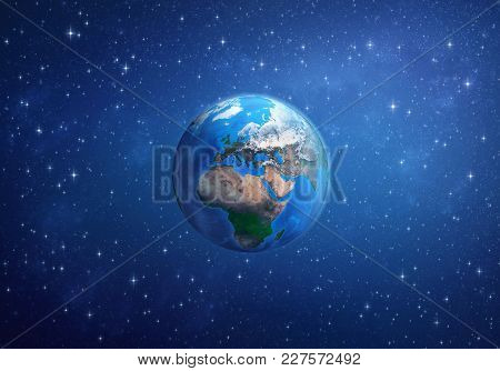Planet Earth In Space, Focused On Europe, Africa And Asia. 3d Illustration - Elements Of This Image