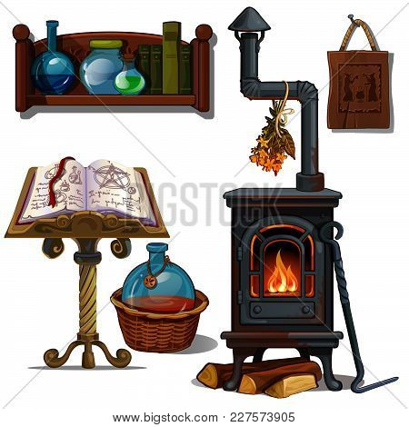 The Interior Of The Home From Witches. Vector.