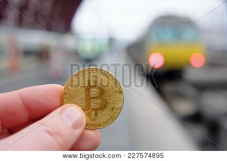 Bitcoin Payment For Traveling At A Trainstation For A Train Fare Using Cryptocurrency In Real Life C