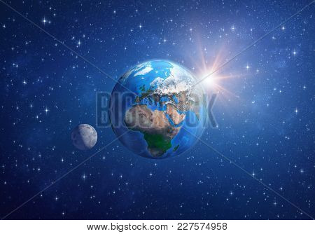 Planet Earth In Deep Space, Focused On Europe, Africa And Asia, With The Moon And The Sun. 3d Illust
