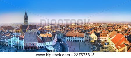 Cityscape Of Sibiu Over The Most Beautiful And Historic Architecture Of Lutheran Cathedral And Tradi
