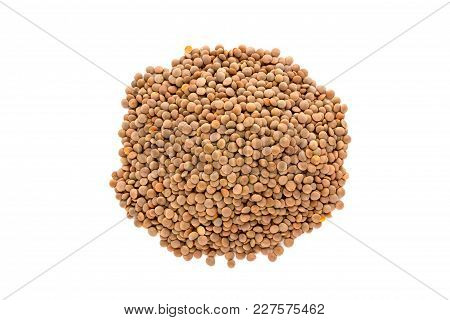 A Pile Of Brown Lentils On A White Background. Brown Lentils Piled With A Slide On A White Backgroun