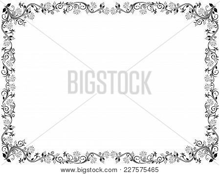Ornamental Floral Frame With Leaves And Flowers, Vector Illustration