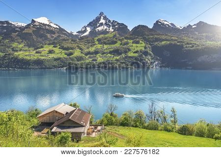 Swiss Alps And Mountain Lake In Spring - Amazing Spring Landscape With The Alps Mountains, The Walen