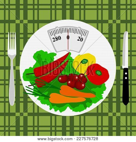 Healthy Lifestyle. Cutlery. Health. Calories.the Weight. The Choice Dinner Time Vector Illustration