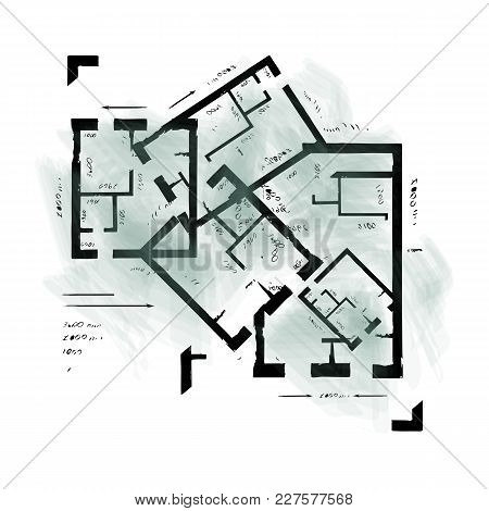 Architectural Plan Drawing. Abstract Architectural Background. Vector Illustration