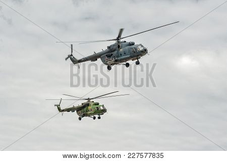 Tyumen, Russia - June 21, 2017: Army Games. Safe Route Contest. Pair Of Military Helicopter Mi-8 In