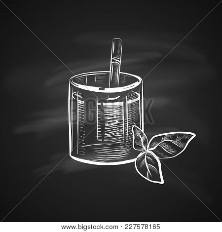 Sketch Illustration Of Glass With Straw And Mint Leaf. Hand Drawn Icon On Chalkboard