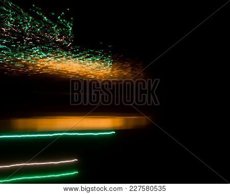 Neon Stripes In Green Orange And Pink With Reflection