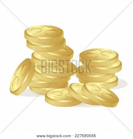 Stack Of Fairy Golden Coins With Clovers Leaves On White Background. St. Patrick's Day, Money, Gold,