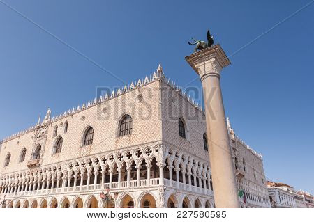 Doges Palace On Saint Mark Square At Blue Hour Before Sunrise, Venice, Italy, Europe. Palazzo Ducale