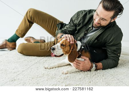 Handsome Man Lying On Carpet And Palming Cute Beagle