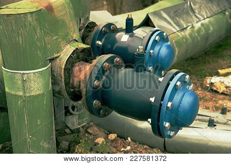 The Still Balancing Ball Valve With Socket Cover. Flanges With Silver Screws And Nuts. New Valves On