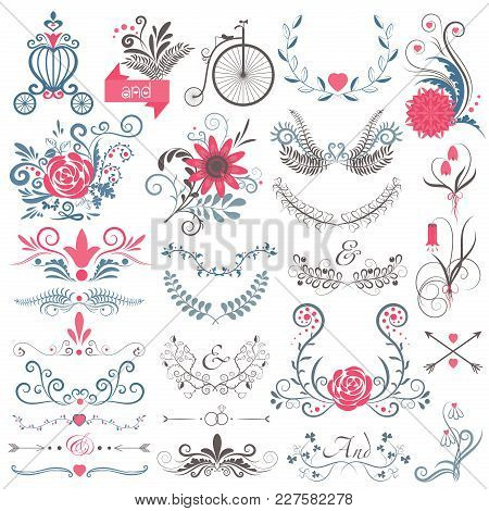 Rustic Hand Sketched Wedding Modern Vintage Graphic Collection Of Cute Floral Flowers, Arrows, Birds