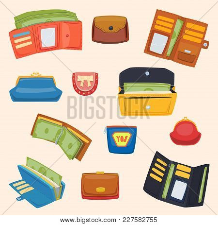 Open Purse Leather Wallet With Money Shopping. Shopping Buy Change Business Currency Leather Open Pu