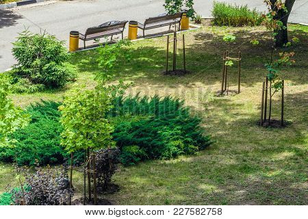 City Street Improvement And Landscaping. Aerial View In Daylight. Belgorod City, Russia.