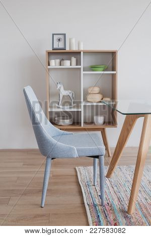 Dining Room With Scandinavian Design Wooden Commode