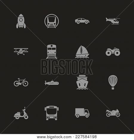 Transport Icons - Gray Symbol On Black Background. Simple Illustration. Flat Vector Icon.