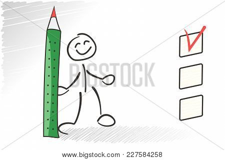 Stickman Questionaire Selected Checkbox. Choice Business Concept. Vector Survey Illustration. Green