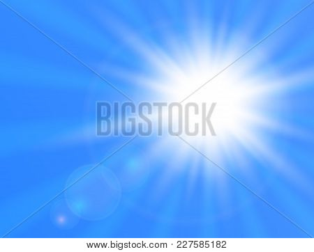 Realistic Shining Sun On Blue Background. Sun With Lens Flare. Vector Illustration.