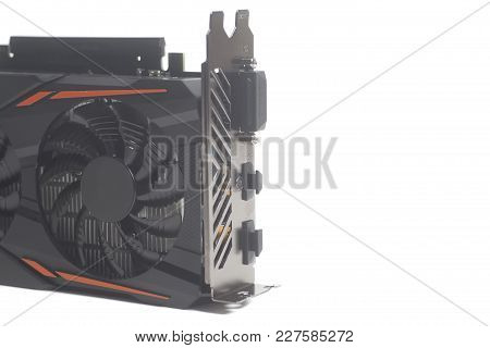 Graphic Videocard For Crypto Currency Mining End Computer Game On White Background.