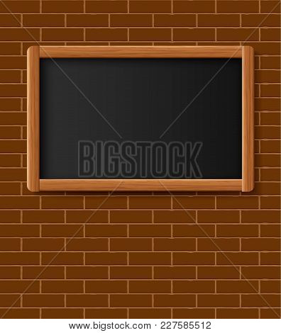Menu Chalkboard, Bulletin Board Hanging On Brick Wall. Frame Of Wooden Boards Against A Backdrop Of