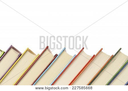 Close Up Of A Row Of Colorful Books With Copy Space