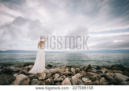 Beautiful bride on the beach.