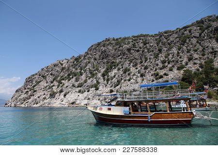 Akseki Cove And Tourist Boats In Adrasan, Antalya