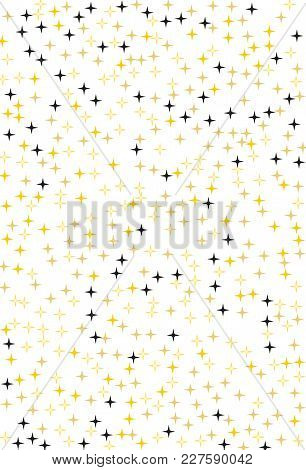 Pattern With Stars. Black And Gold On A White Background Color. A Simple Backdrop For Screensavers,