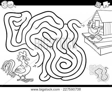 Maze Game Coloring Book With Rooster And Hen
