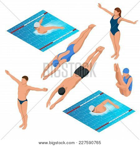 Isometric Swimming Pool, Swimmers Human Characters Vector Illustration. Sportsmen Of Various Types O