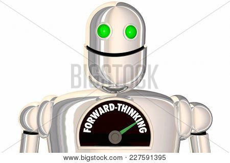 Forward-Thinking Robot Plan Ahead Outlook Strategy 3d Illustration