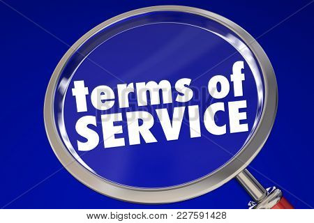 Terms of Service Magnifying Glass Fine Print 3d Illustration