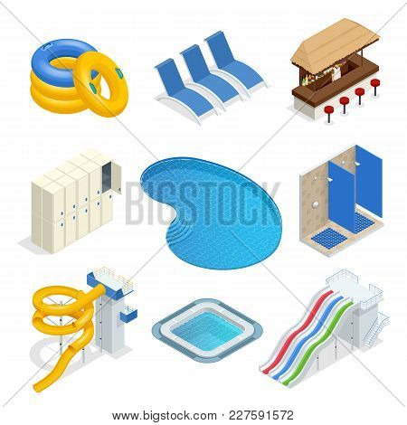 Isometric Water Park Attractions Vector Icon Set With Inflatable Swimming Circles, Sun Beds, Locker