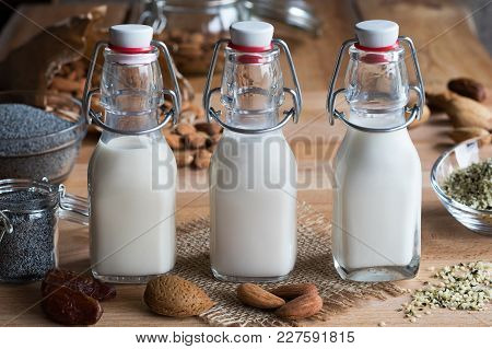 Three Bottles Of Vegan Plant Milk - Almond Milk, Poppy Seed Milk And Hemp Seed Milk, With Almonds, P