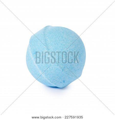 Blue  Bomb For Bath On White Background Isolation