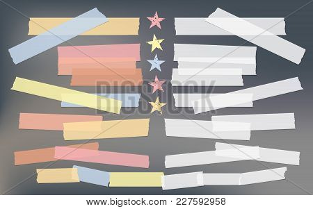 Blue, Red, Yellow Adhesive, Sticky, Masking, Duct Tape, Paper Pieces For Text With Stars On Dark Gra