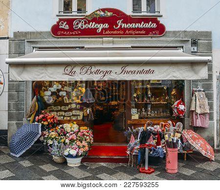 Aosta, Italy - Feb 17, 2018: La Bottega Incantada Meaning The Enchanted Workshop, A Souvenir Shop In