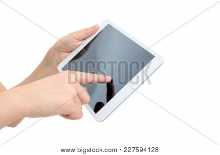 Hands Holding Gadget Isolated On White Background